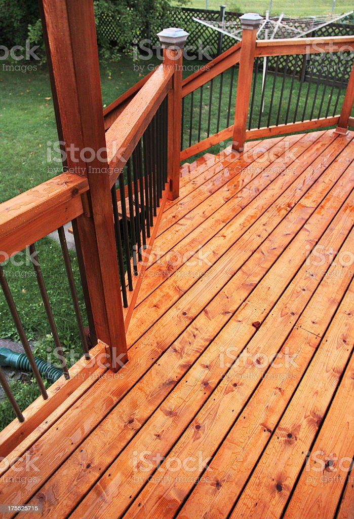 Wet Cedar Deck stock photo