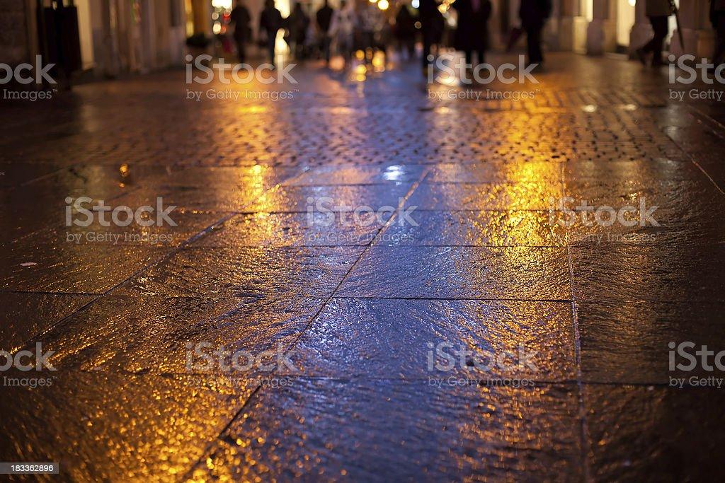 Wet City Street royalty-free stock photo