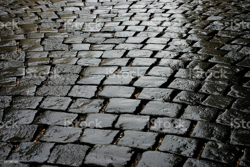 Wet Cobbled Road Close Up stock photo