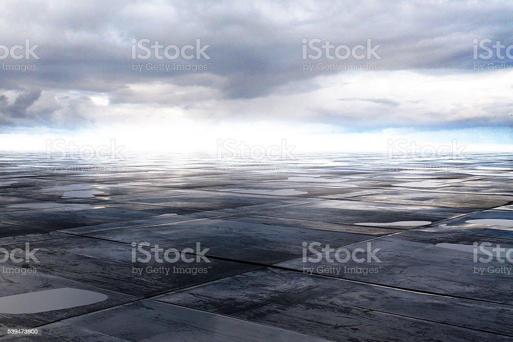 wet concrete floor stock photo