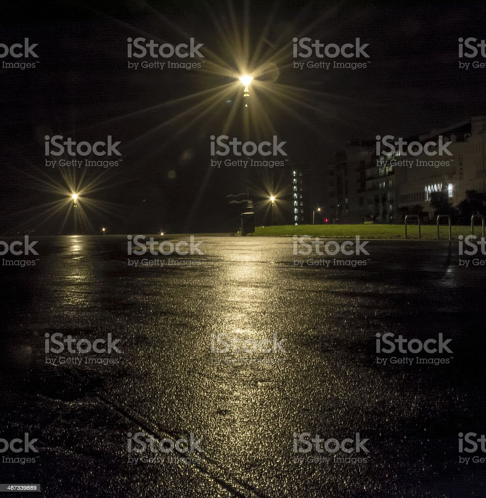 Wet dark night on Plymouth hoe in England stock photo