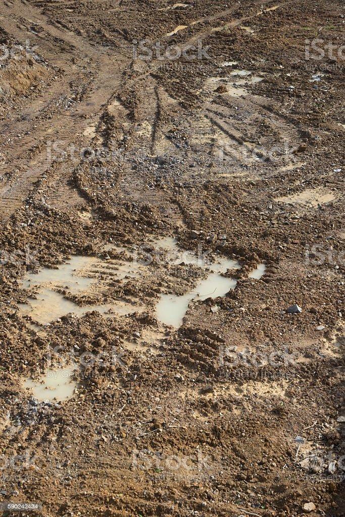 Wet dirt ground of construction site photo libre de droits
