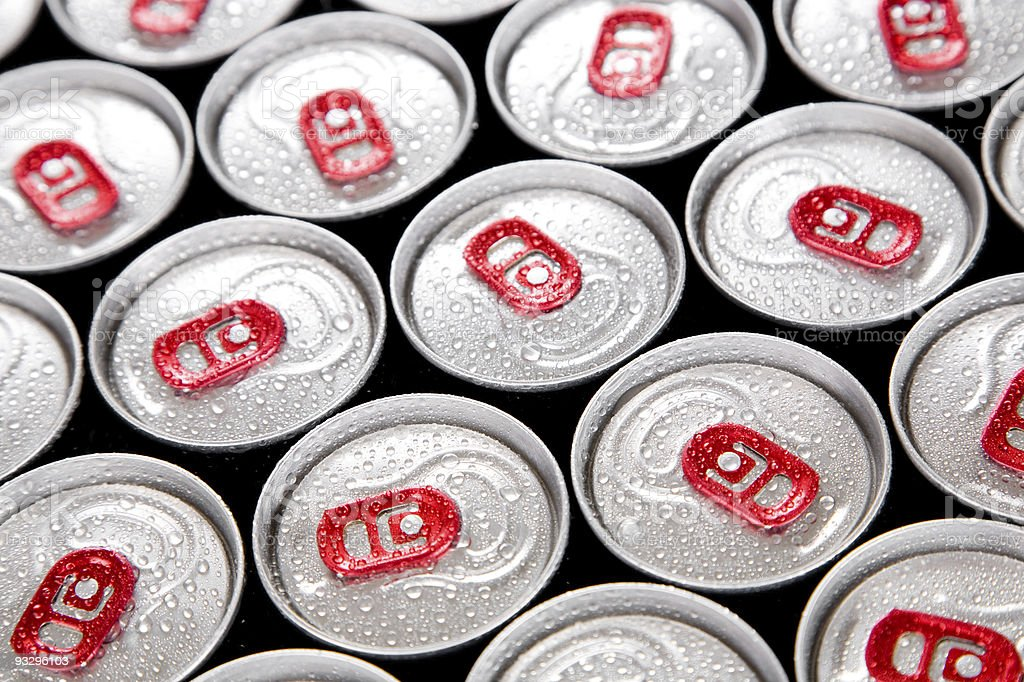 Wet drink cans stock photo
