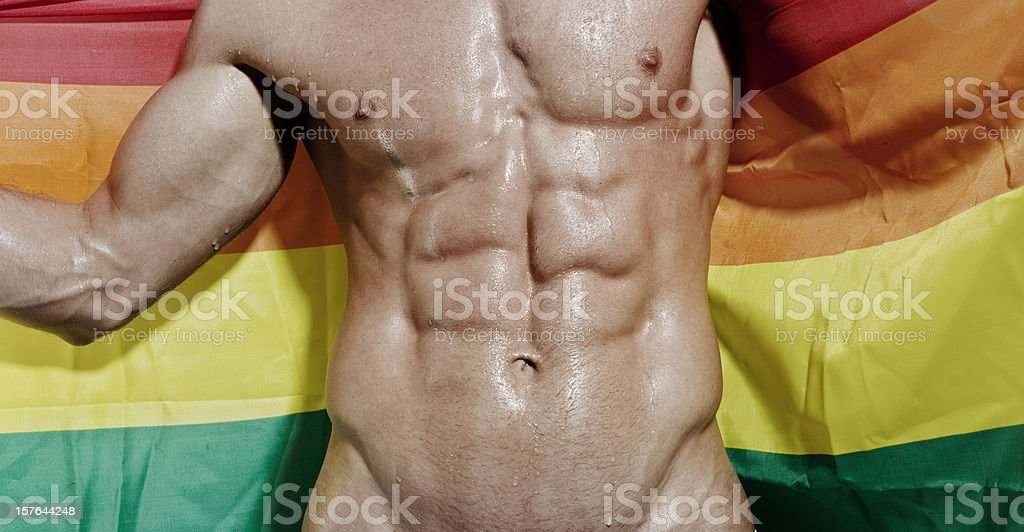 Wet exposed Muscular torso holding Gay flag royalty-free stock photo