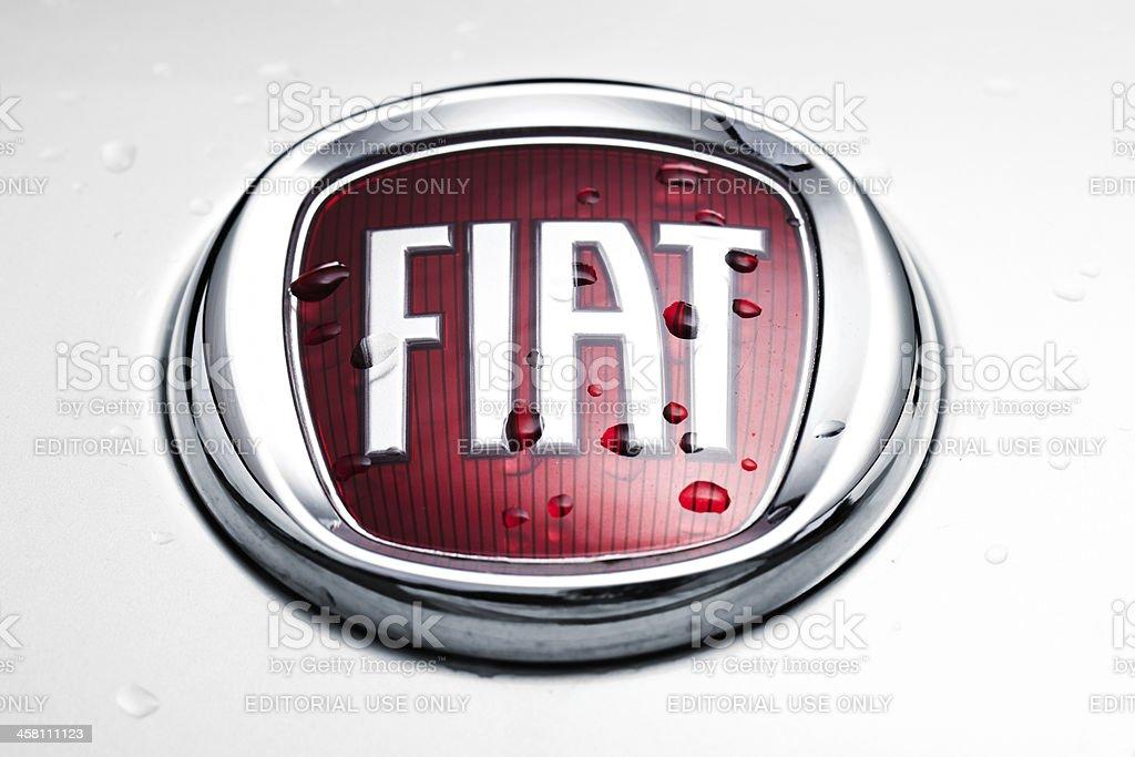 Wet Fiat emblem stock photo