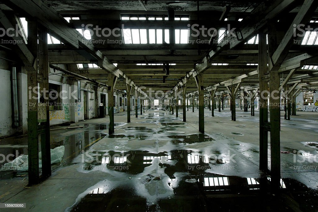 wet floor on the factory hall royalty-free stock photo