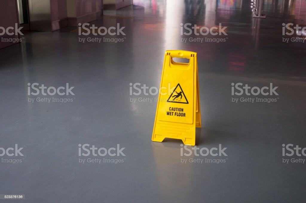 Wet Floor Sign stock photo