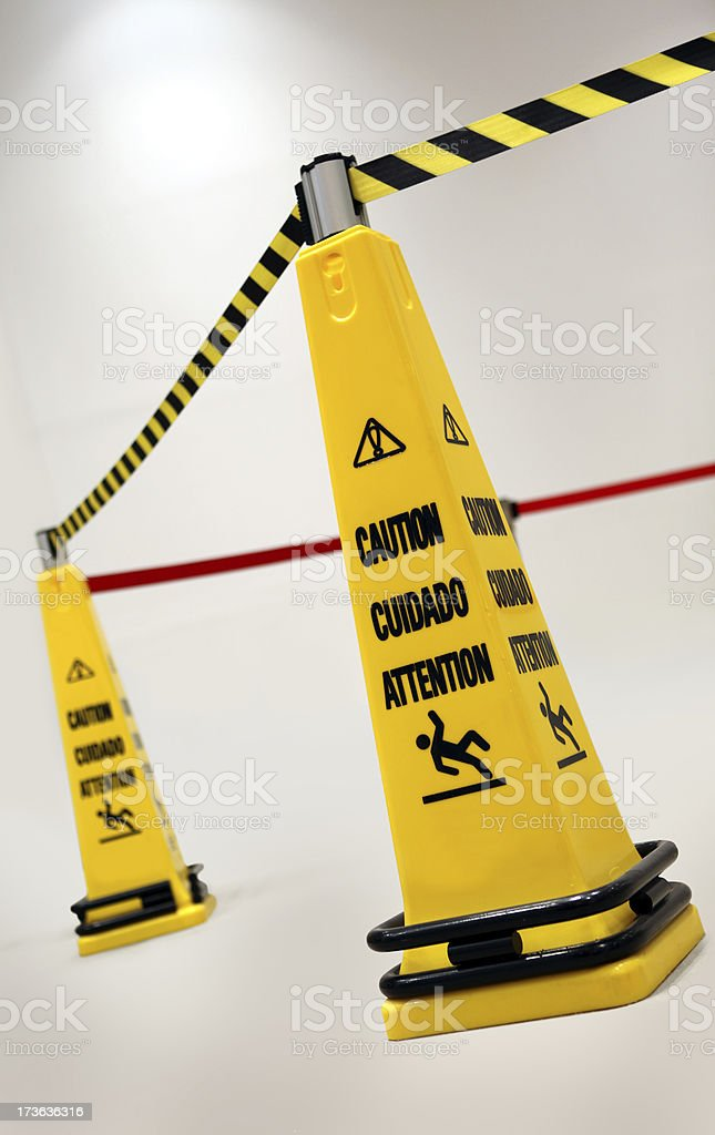 wet floor warning royalty-free stock photo