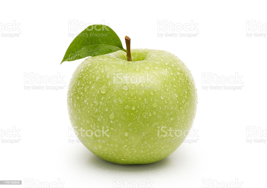 Wet green apple ( with clipping path ) royalty-free stock photo