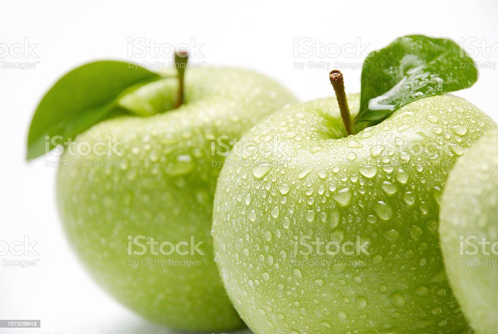 Wet green apples royalty-free stock photo