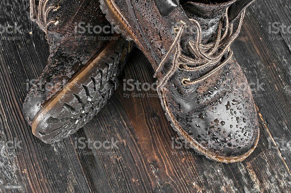Wet hiking boot stock photo