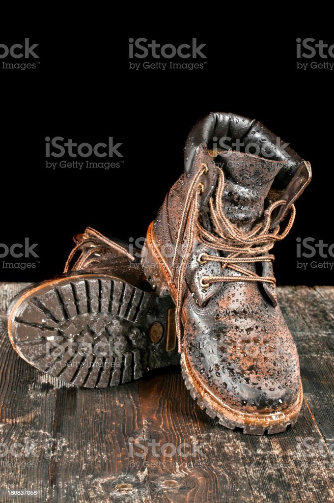Wet hiking boot royalty-free stock photo