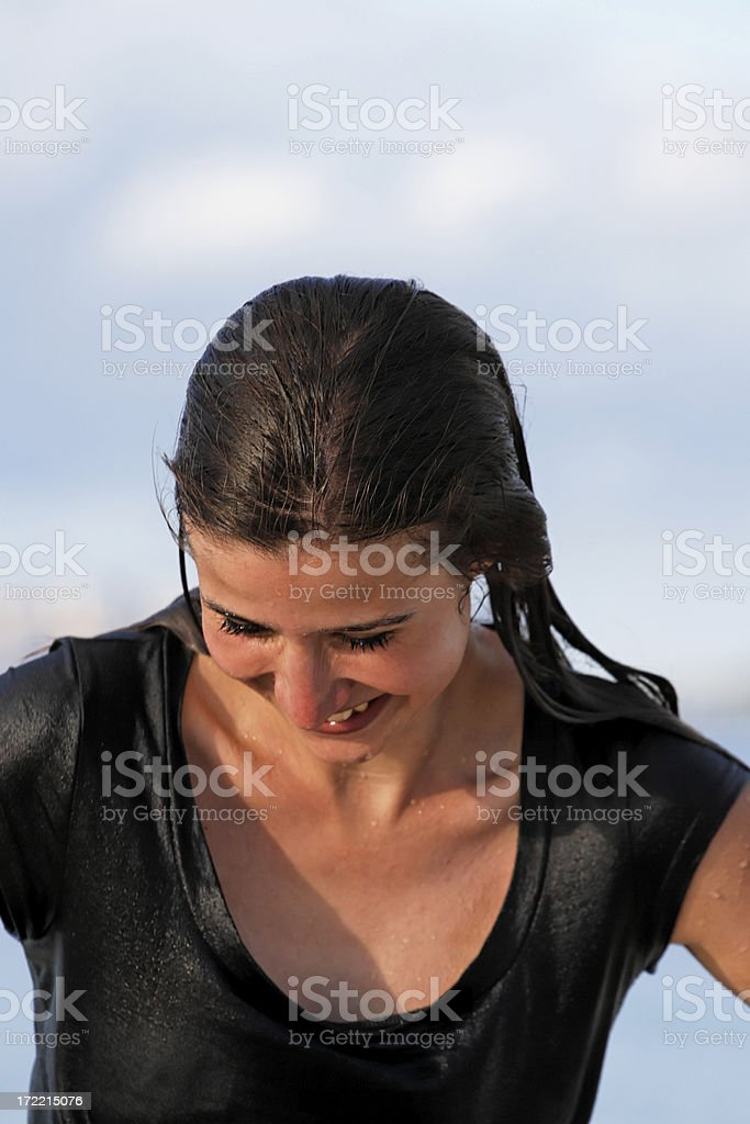Wet in clothes royalty-free stock photo