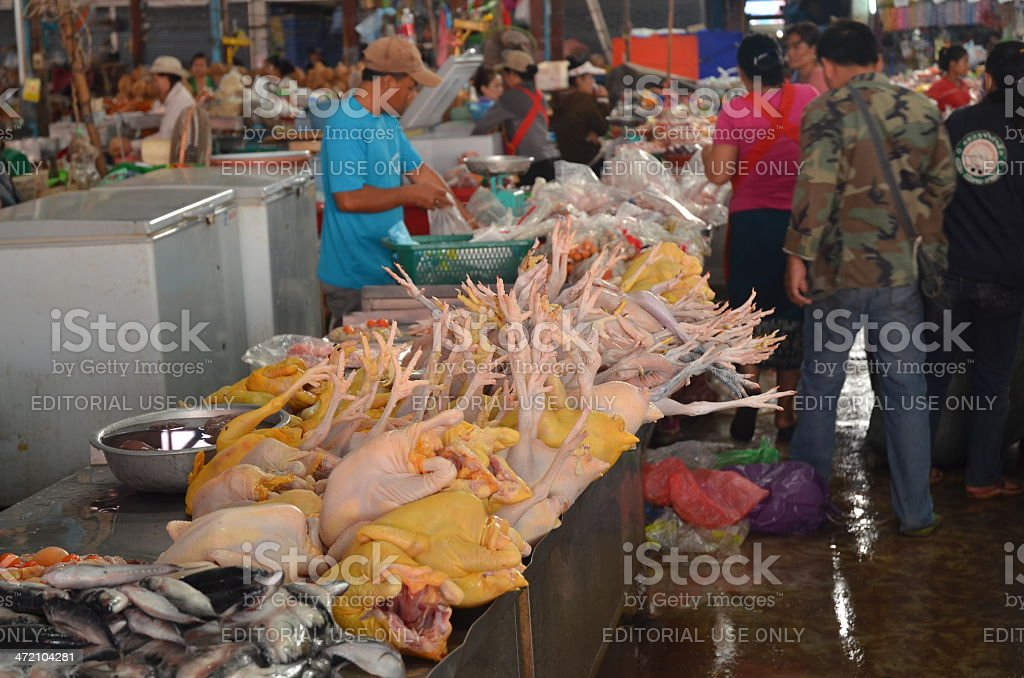 Wet Market selling poultry and fish stock photo