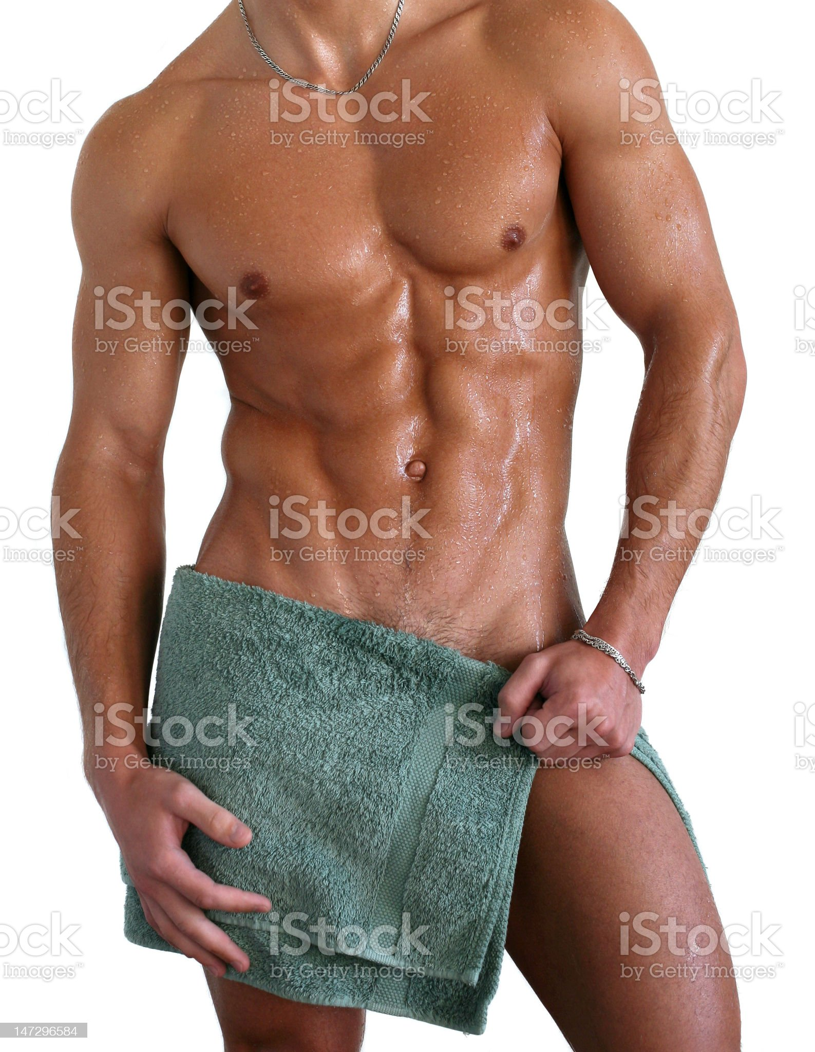 Wet Muscular Torso Wrapped in Towel royalty-free stock photo