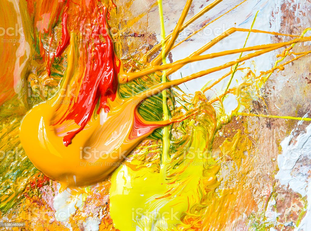 Wet oil paint on palette macro texture. stock photo