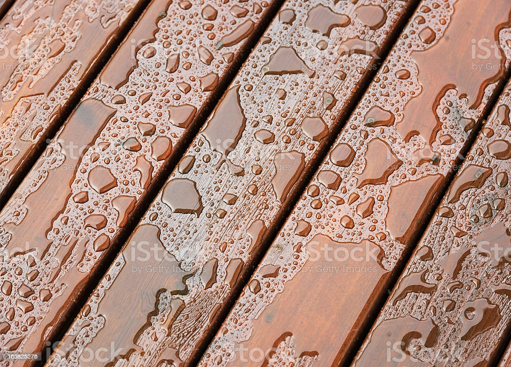 Wet Outdoor Decking Surface stock photo