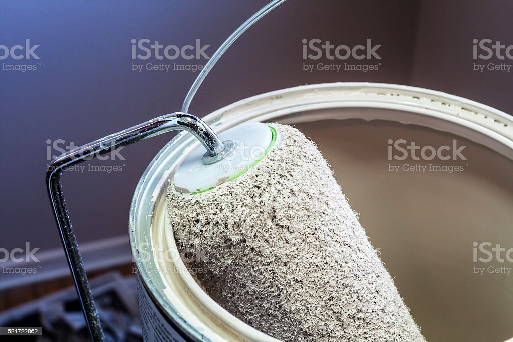 Wet Paint Roller in a Bucket of Paint Close-Up stock photo