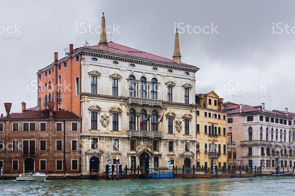 wet palaces in Venice in autumn rain stock photo