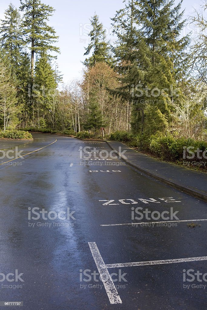 Wet parking lot with Bus Zone royalty-free stock photo