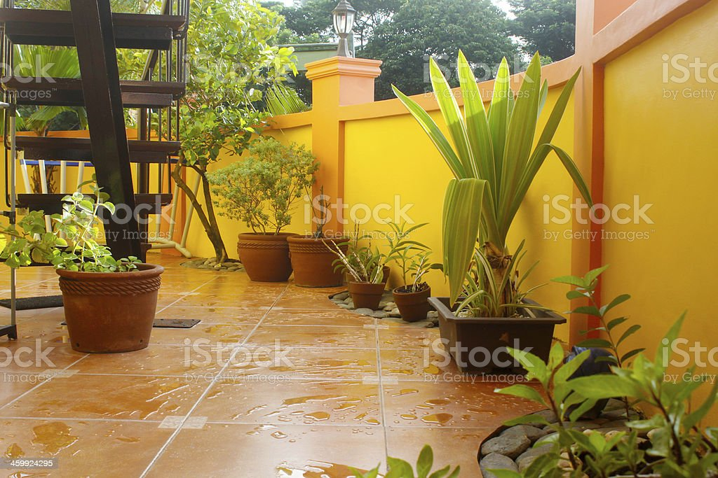 Wet Patio stock photo