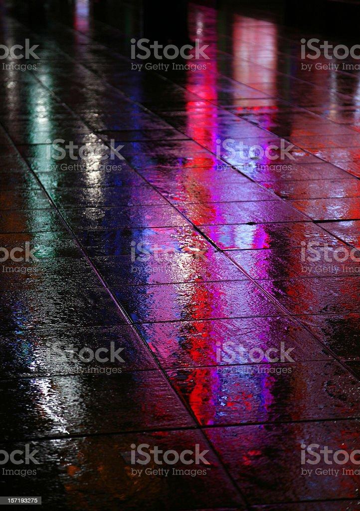Wet Pavement At Night royalty-free stock photo