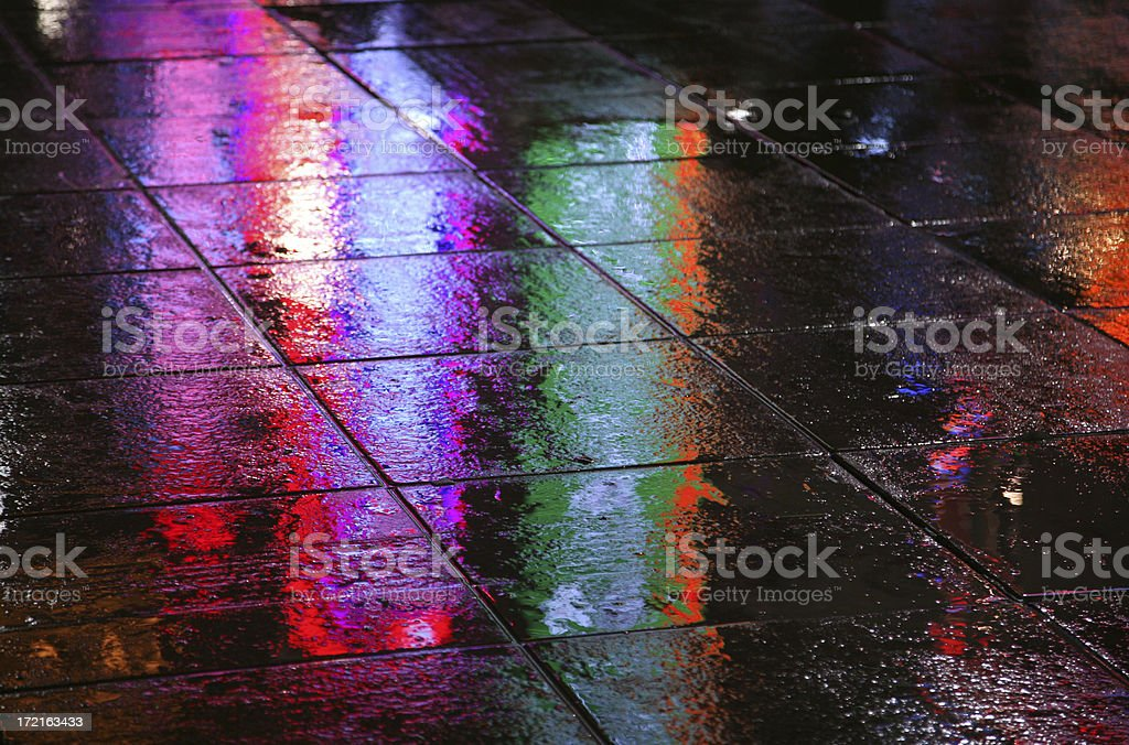 Wet Pavement At Night royalty-free stock photo
