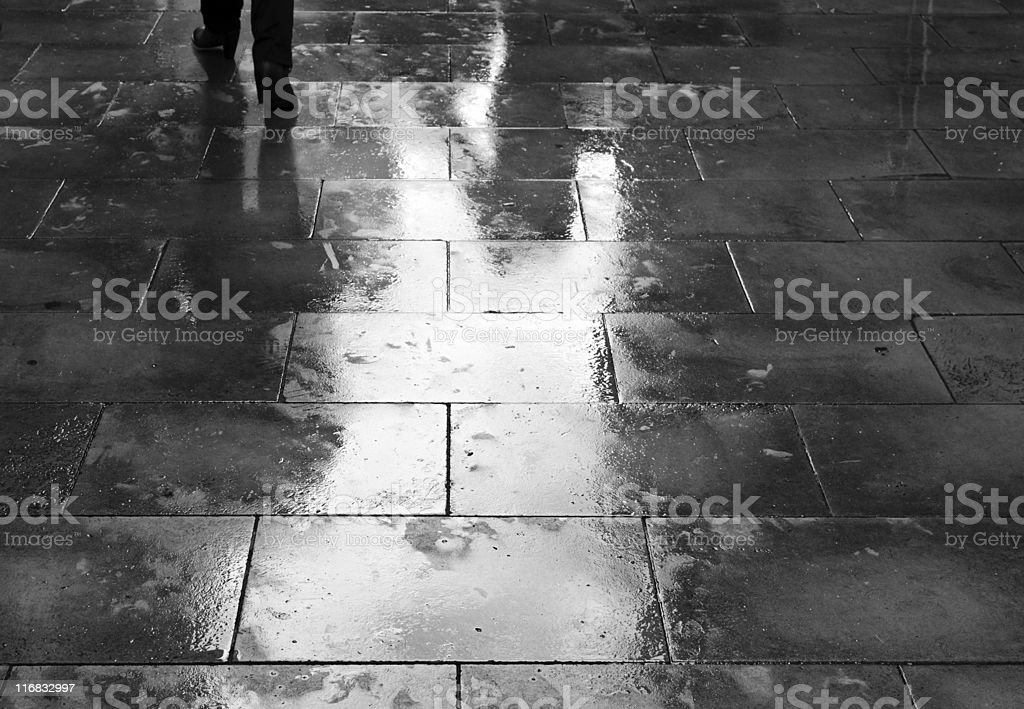Wet pavement royalty-free stock photo