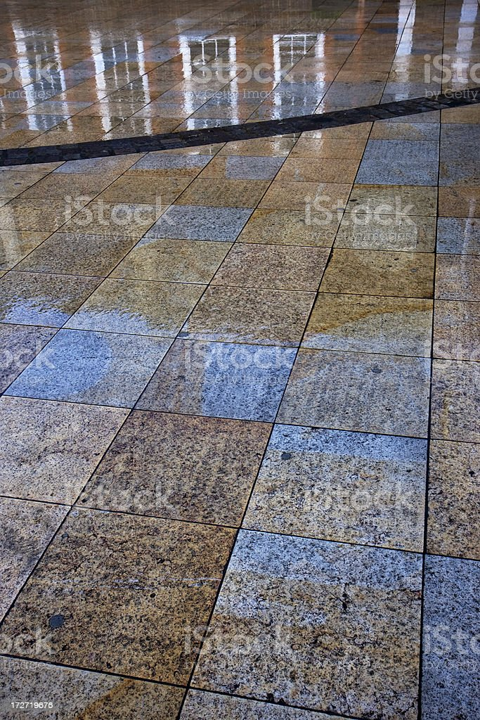 Wet paving and reflections royalty-free stock photo