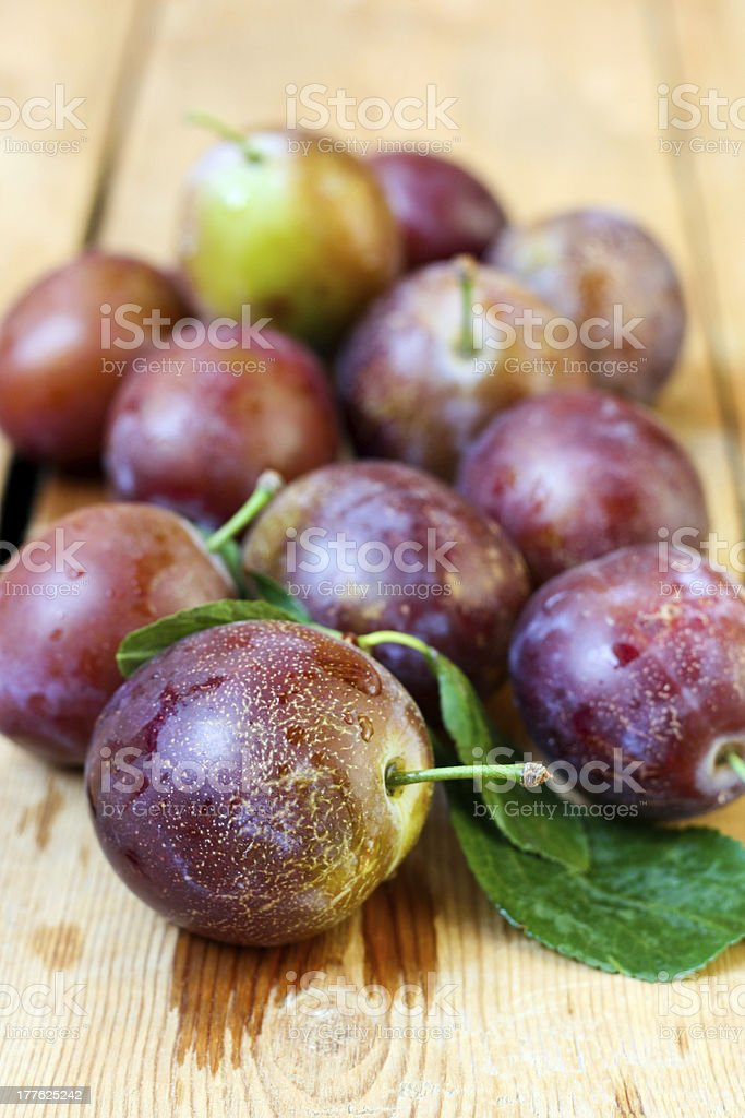 Wet plums royalty-free stock photo