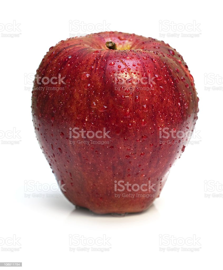 wet red apple on white royalty-free stock photo