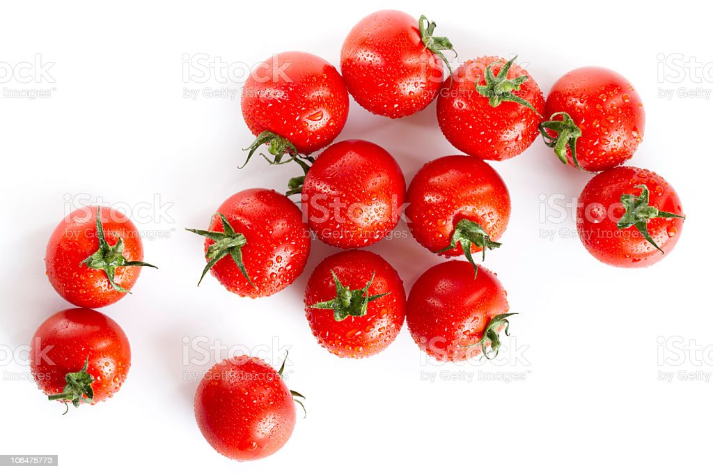 wet red cherry tomatoes isolated on white stock photo