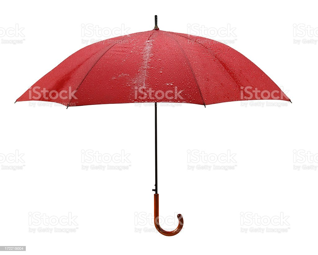 Wet Red Umbrella with Paths royalty-free stock photo