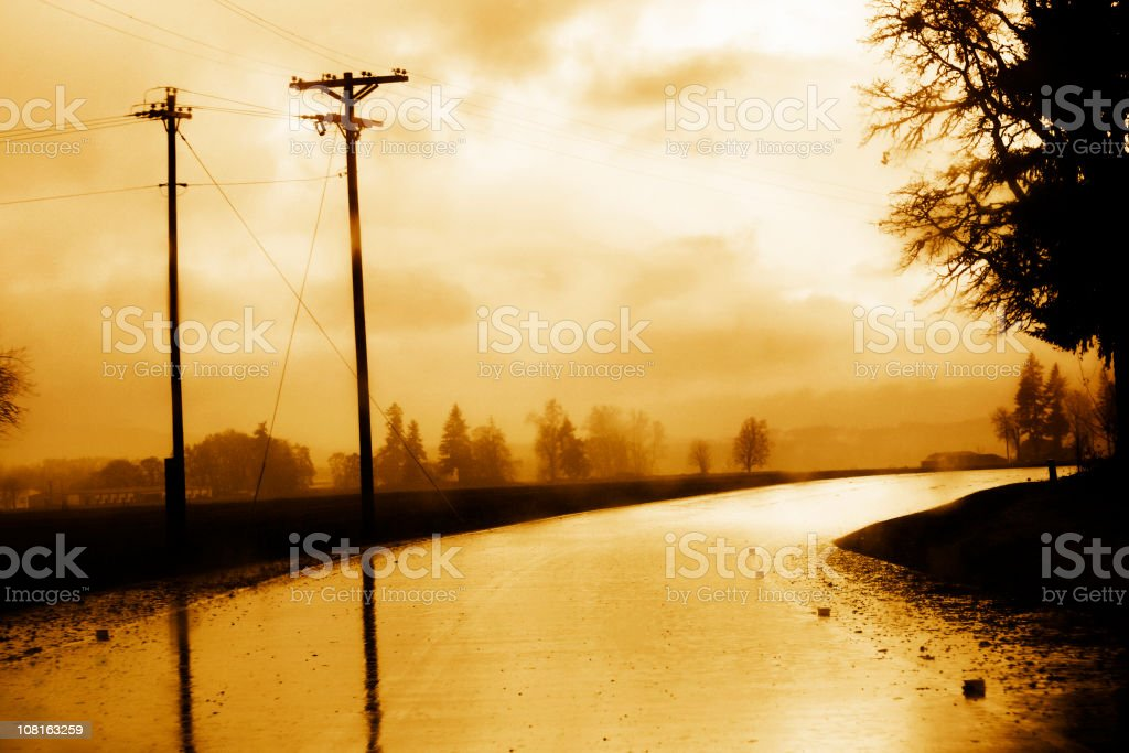 Wet Road After Rain, Toned royalty-free stock photo