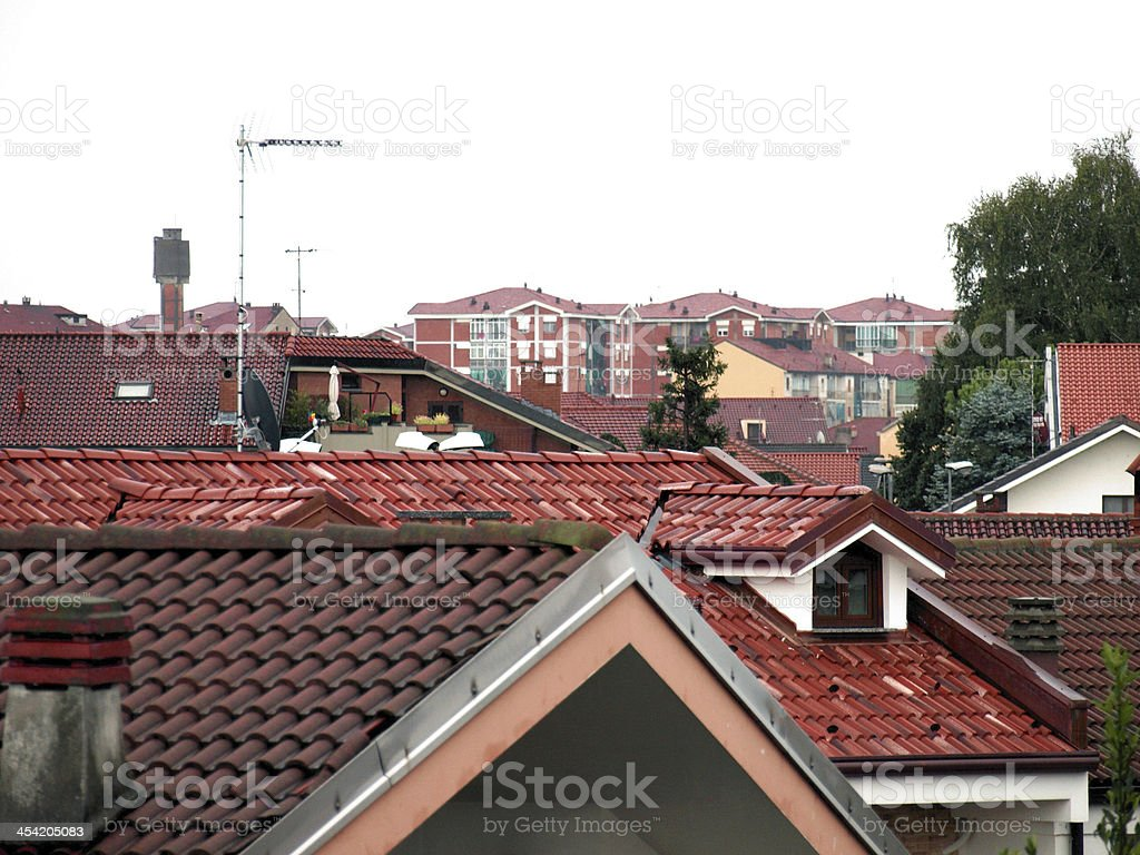 Wet roofscape stock photo