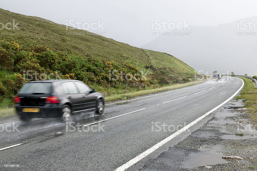 Wet Rural Drive stock photo