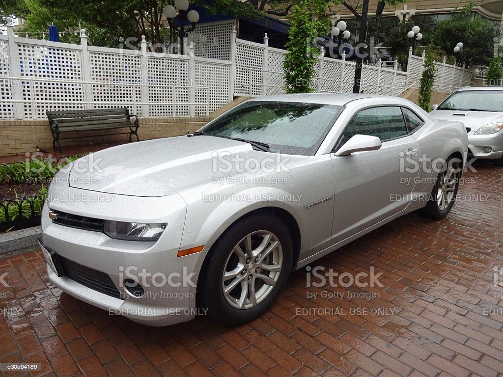 Wet Silver Camaro in Georgetown stock photo