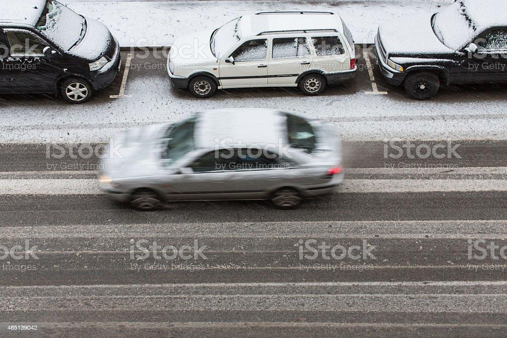 wet snow on the street stock photo