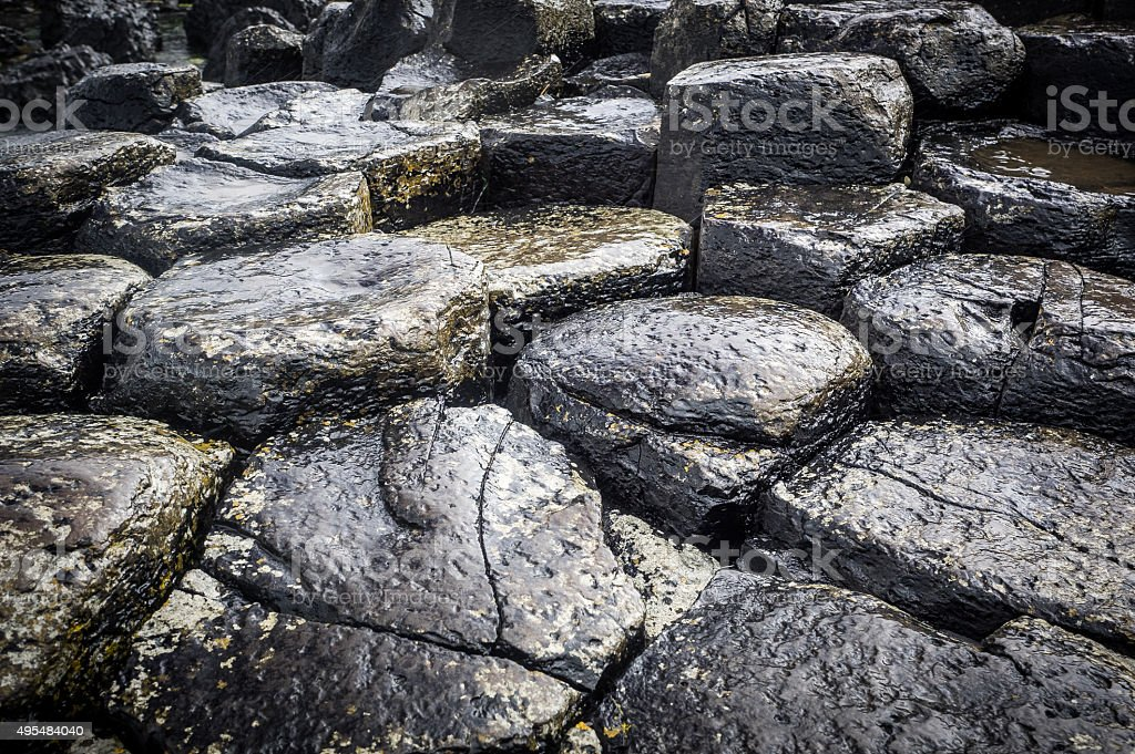Wet Stones at the Giants Causeway stock photo