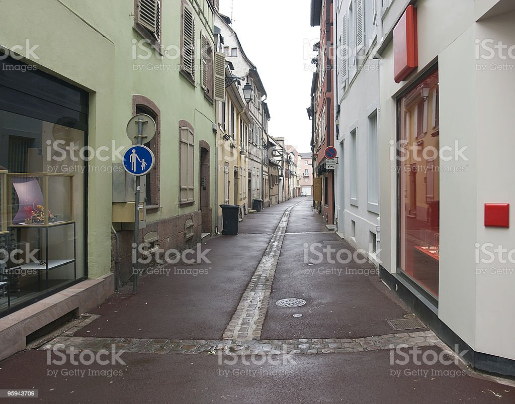 wet street in Colmar royalty-free stock photo