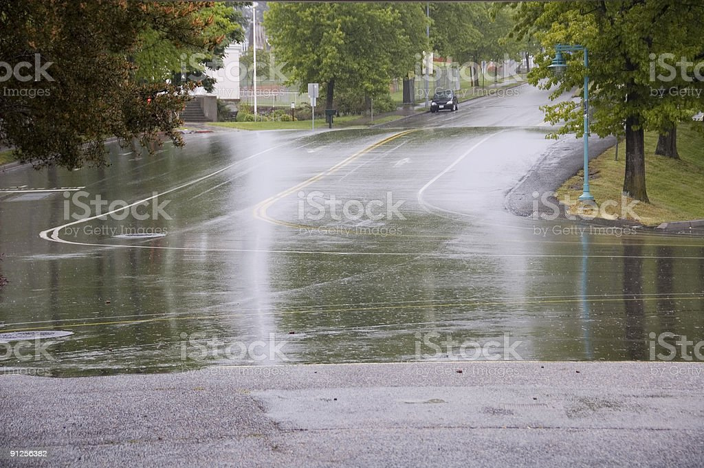 Wet Street stock photo