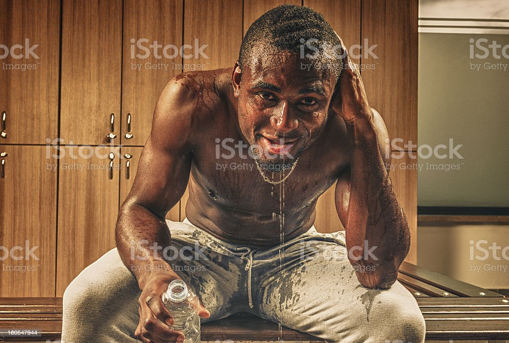 wet sweat man at the end of training on gym royalty-free stock photo