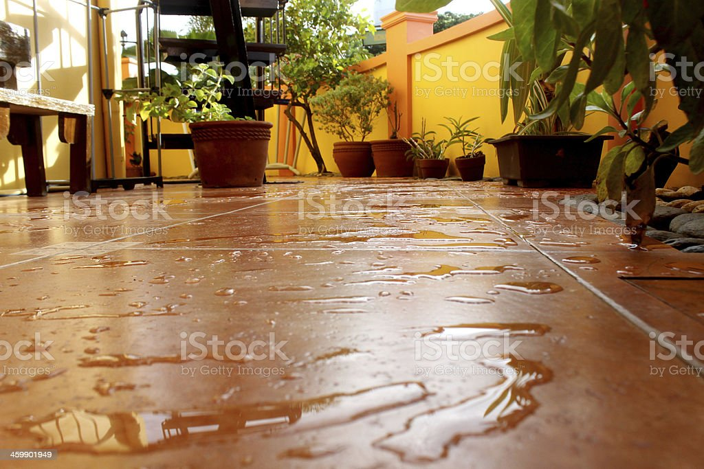 Wet TiledPatio stock photo