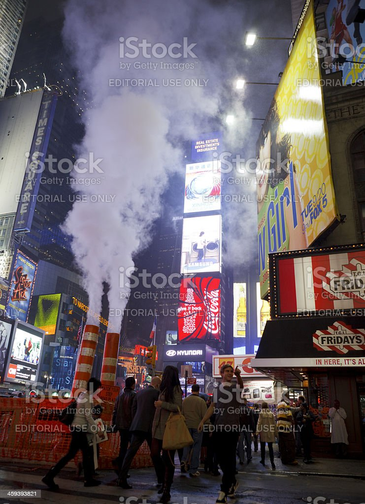 Wet Times Square at Night Manhattan stock photo