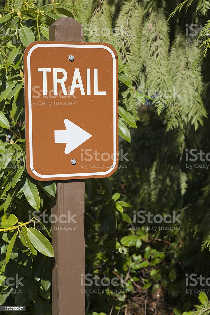 Wet trail sign after a rainshower royalty-free stock photo