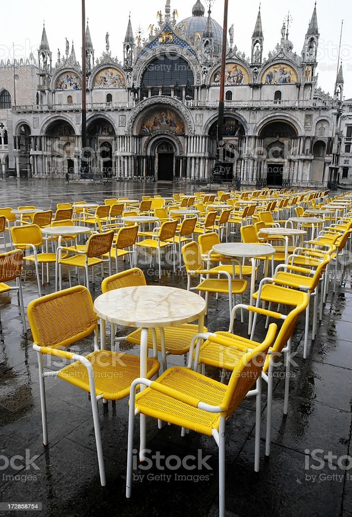 Wet Venice chairs royalty-free stock photo