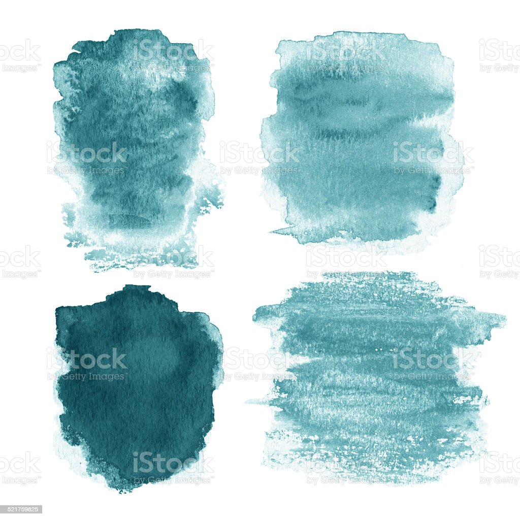 Wet Watercolor Wash. Watercolor Background. Colorful blue wet in stock photo