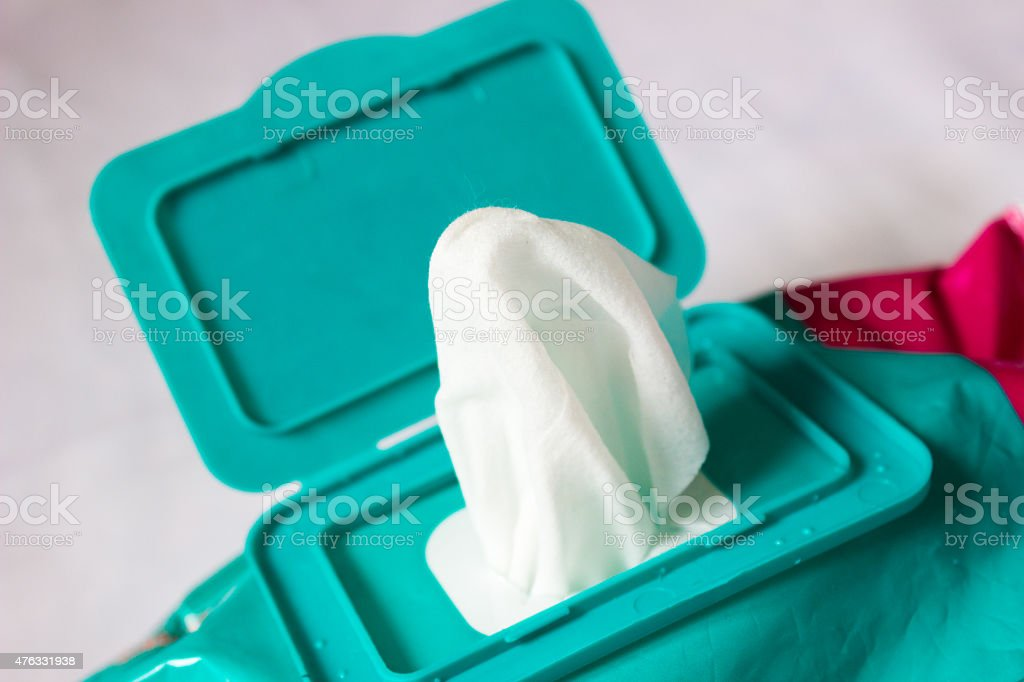 Wet wipe on a white background stock photo