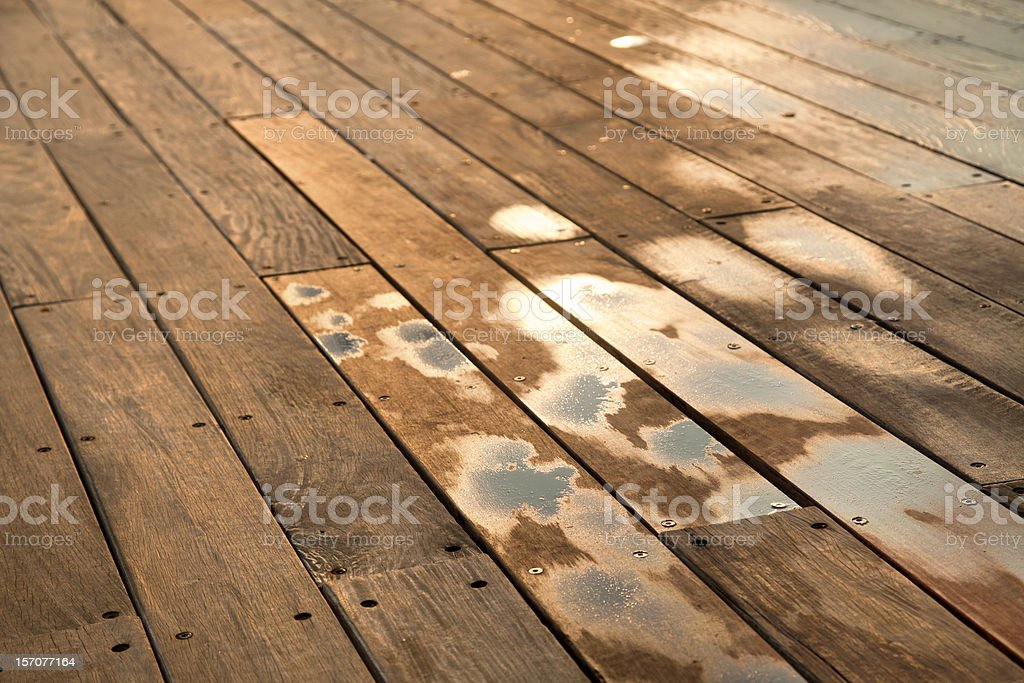Wet Wooden Deck royalty-free stock photo