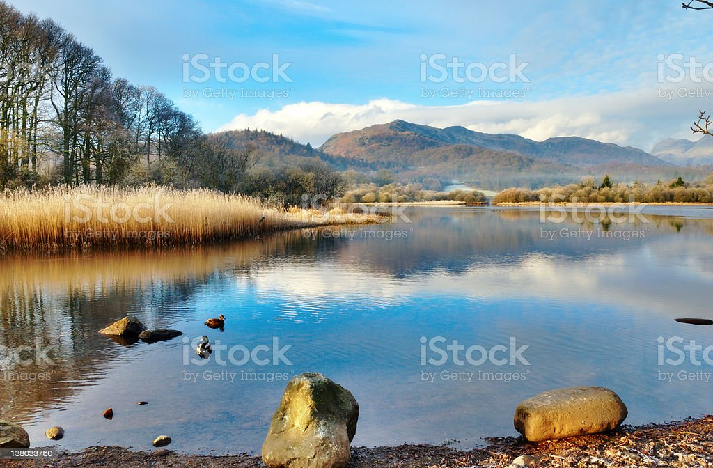 Wetherlam Mountain And Elter Water Lake stock photo